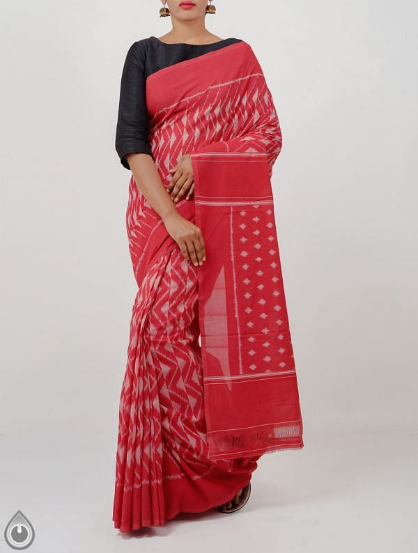 Red Pure Handloom Pochampally Ikat Cotton Saree With Intricate Designs-UNT088