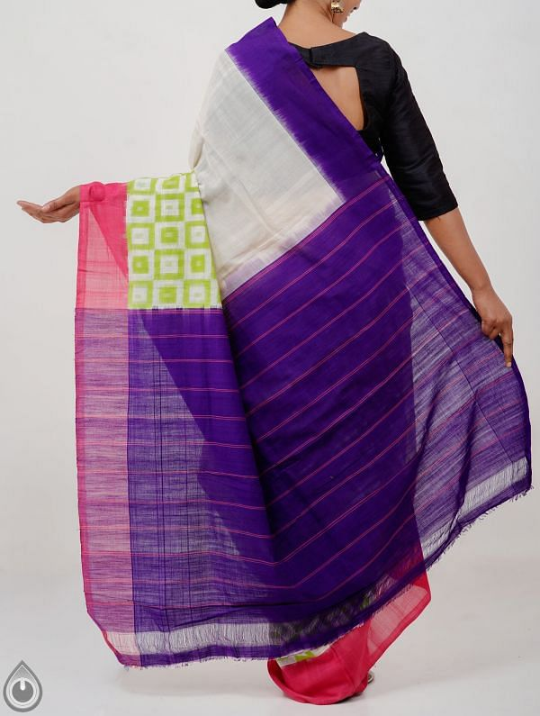Off white Pure Handloom Pochampally Ikat Cotton Saree With Intricate Designs-UNT090