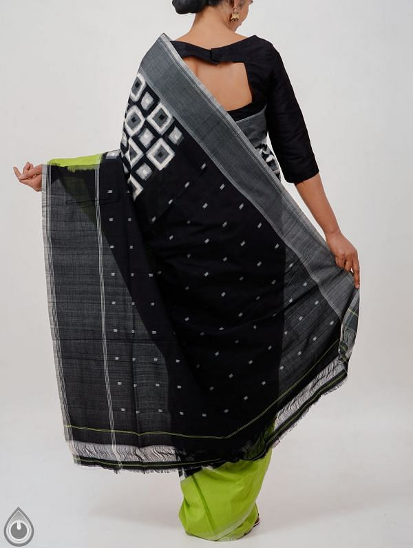 Black Pure Handloom Pochampally Ikat Cotton Saree With Intricate Designs-UNT092