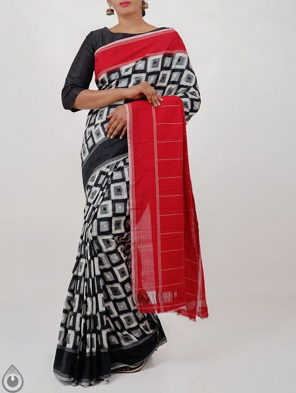 Online Shopping for Black Pure Handloom Pochampally Ikat Cotton Saree With Intricate Designs with  Ikat Weaving from Andhra Pradesh at Unnatisilks.com India