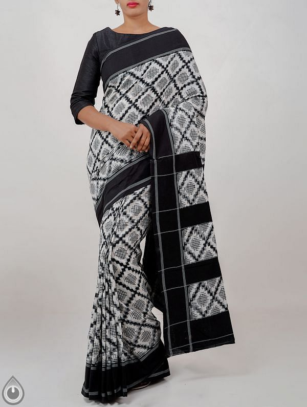 Online Shopping for Off white Pure Handloom Pochampally Ikat Cotton Saree With Intricate Designs with  Ikat Weaving from Andhra Pradesh at Unnatisilks.com India