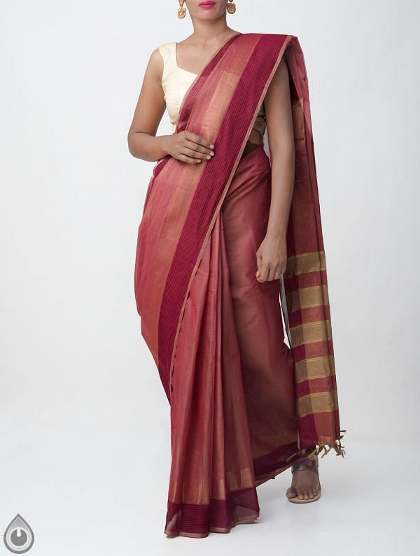 Online Shopping for Brown-Pink Pure Handloom Kanchi Cotton Saree With Tassels with Weaving from Tamilnadu at Unnatisilks.comIndia
