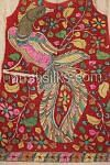 Front side of UDK04-Colorful party sindhuri red unstitched pure kalamkari tussar silk kurti