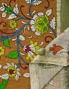 Online Shopping for Brown Floral Kalamkari Hand Painted Pure Cotton Dupatta with Kalamkari Hand Paints from Andhra Pradesh at Unnatisilks.comIndia