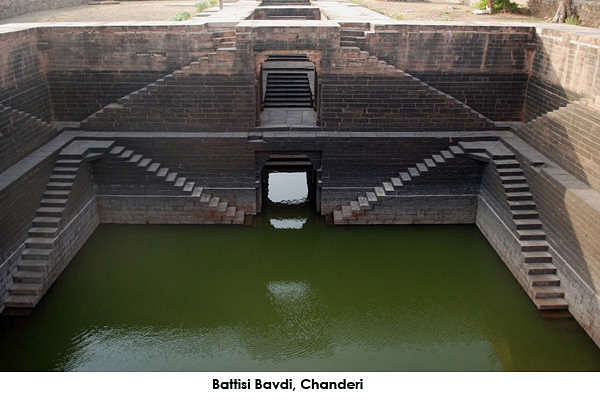 Battisi Bavdi is a large stepwell that was built in Chanderi by Sultan Ghiyasuddin Shah in 1485. The stepwell is around 40ft deep and derives its name from a flight of thirty two steps.