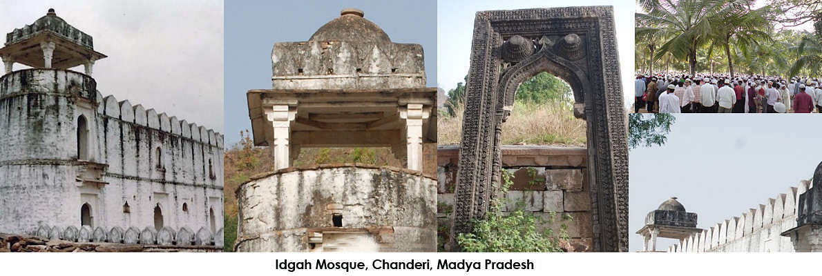 Idgah mosque is a 15th century mosque built by the governor of Chanderi. The mosque consists of two-storeyed arched facade with minarets on either side.