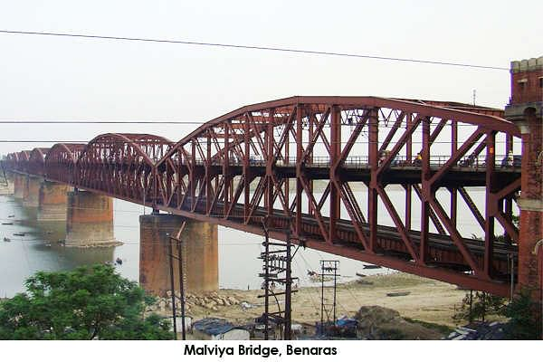 Malviya Bridge, inaugurated in 1887 (originally called The Dufferin Bridge) is a double decker bridge over the Ganges at Varanasi.