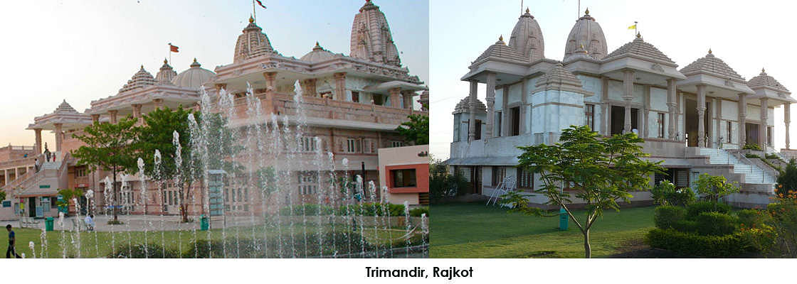 Trimandir, a Non-Sectarian temple located on Rajkot-Ahmedabad Highway has a good atmosphere, quite peaceful while the surrounding area is flush with greenery and the garden has a fountain.