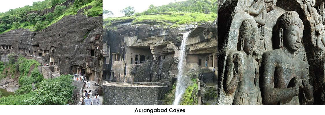 Aurangabad Caves, situated at a distance of 5 km (3 mi), nestled amidst the hills are 12 Buddhist caves dating back to 3 A.D. Of particular interest are the Tantric influences evident in the iconography and architectural designs of the caves.