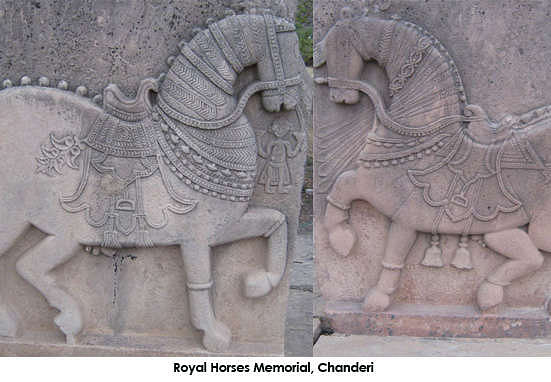 Royal horses memorial has been built in the memory of the favorite horses of Bundela kings, near the Parmeshwar talab. The memorial has two stone plaques carved with the images of two decorated horses.