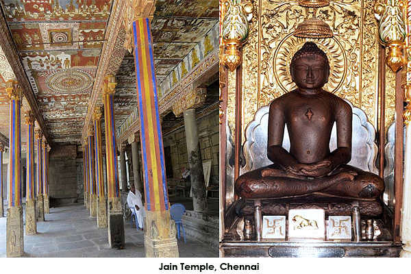 Jain temple is situated at Thiruparuthikundram about 8-10 km from bus stand. There are two temples one for Varthamana and another for Pushpathantar and another for Padma prabha and Vasu Pujya. It has beautiful wall paintings.