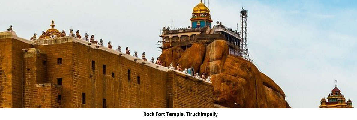 A Temple dedicated to Lord Ganesha, the temple is situated at the top of the Rock. The architecture is amazing. There are more than 300 stairs to reach to the temple. The view of Trichy City is spectacular from this place.