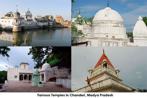 There are several temples in Chanderi that dates back to as early as 15th century. Phuhariji temple, Narsimha temple, Matamadh temple, Shri Sankatmochan temple, Chintaharan temple, Bade Ganesh temple, Mansimheshwar temple and Malan Khoh.