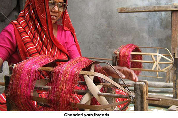 The chanderi yarn threads are loosened by winding them uniformly on small reels or spools with the help of the Charkha or spinning wheel, for the weft.