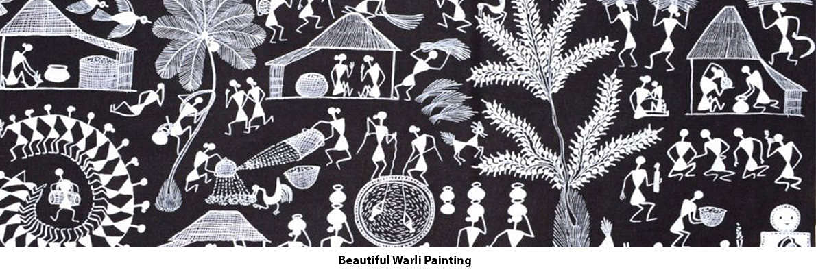 Warli painting is a tribal art of white coloured painting or depiction of human figurines and objects of everyday life on mud wall canvases. Warli Painting is a folk art through white painting on mud walls created by the tribals found on the outskirts of Mumbai, mostly in Thane district.